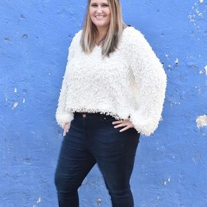 Andree White Fuzzy Sweater